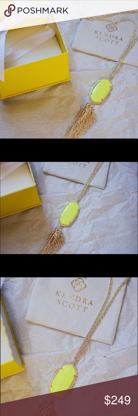 NWT Kendra Scott Rayne Necklace w Neon Yellow I've just switched out my 3+ year old Gold Rayne component with a fresh new one from my closest KS location (they do it for free!). I've had this Neon Yellow Rayne since it was sold online, but it's still in such good condition! As you can see in the last picture, there's a small smudge on the back of the stone, but I hardly noticed it until I went to sell it. I love this necklace so much, it was one of my first KS pieces ever! Looking for it to…