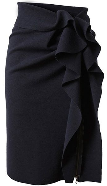Lanvin Blue Stretch Wool Skirt with Structured Ruffle Side