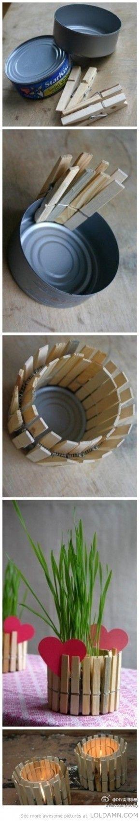Eenvoudige doe-ideeën: Recycle uw oude tin en wasknijpers