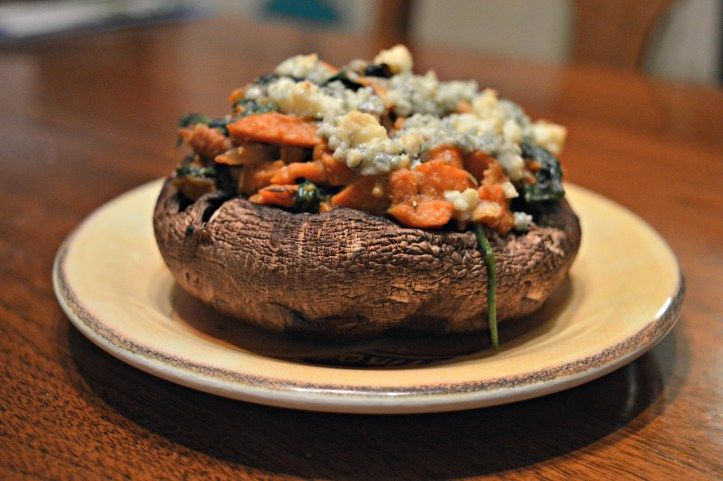 ... loaded with blue cheese, pecans, spinach and sweet potatoes. DELISH