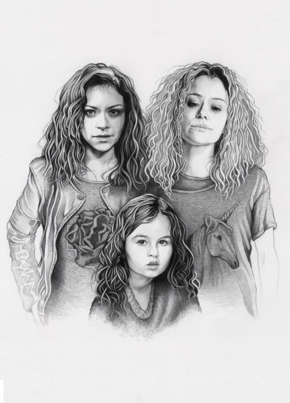 Orphan Black fanart poster contest - by Ashley Verkamp. Graphite Drawing. Orphan Black, Sarah Manning, Helena, Kira, Fan Art, Tatiana Maslany. #OrphanBlack #SarahManning #CloneClub #TatianaMaslany #Illustration #Design #OrphanBlackFanArt