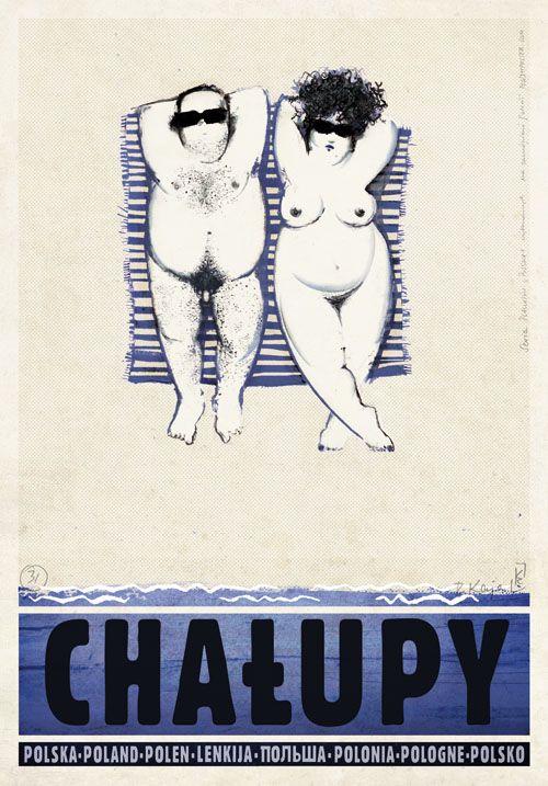 Chalupy (Polish Nudist place On Baltic Sea coast), Polish Tourist Poster | Designer: Ryszard Kaja | 2012