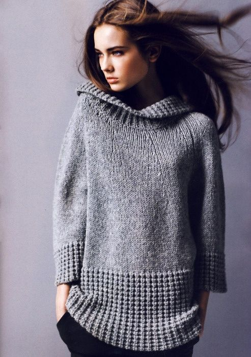 Twisted rib detailing on sweater is fantastic