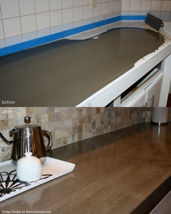 Before And After Poured Quick Install Concrete Countertops Over