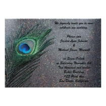 Sparkly Black Peacock Wedding invitations by Peacocks