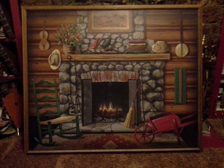 Original Oil Painting By Folk Artist Huntington Fireplace