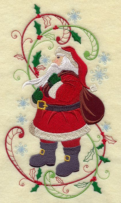 Enchanted Christmas Santa Claus with Swirls