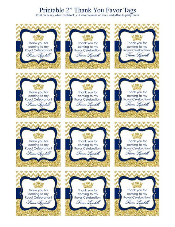Prince Labels Prince Baby Shower Favor Label Prince Birthday Party Favor Sticker Printable Party Tags Blue White Prince Chevron Prince Party