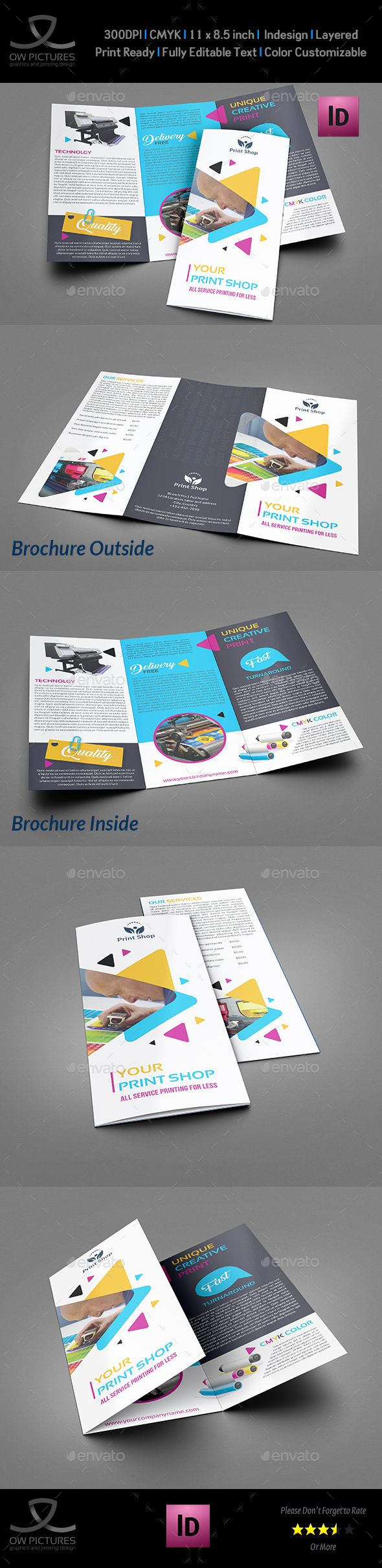 Print Shop Tri-Fold Brochure Template InDesign INDD. Download here: http://graphicriver.net/item/print-shop-trifold-brochure-template/16301812?ref=ksioks