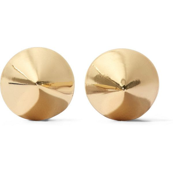 Eddie Borgo Gold-plated cone earrings ($100) ❤ liked on Polyvore featuring jewelry, earrings, accessories, gold, eddie borgo, eddie borgo earrings, cone earrings, eddie borgo jewelry and gold plated jewellery