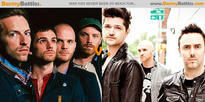 Coldplay Vs The Script. Which band do you consider more artistic and talented? #coldplay #thescript #band #uk CLICK HERE TO VOTE: http://www.barmybattles.com/2014/02/04/coldplay-vs-the-script/
