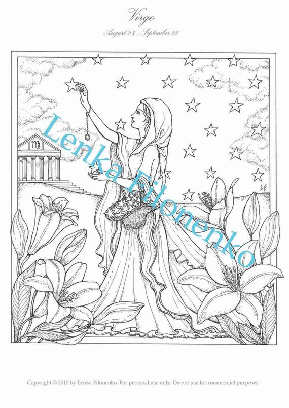 Coloring Page For Adults Arts Coloring Page Virgo Zodiac