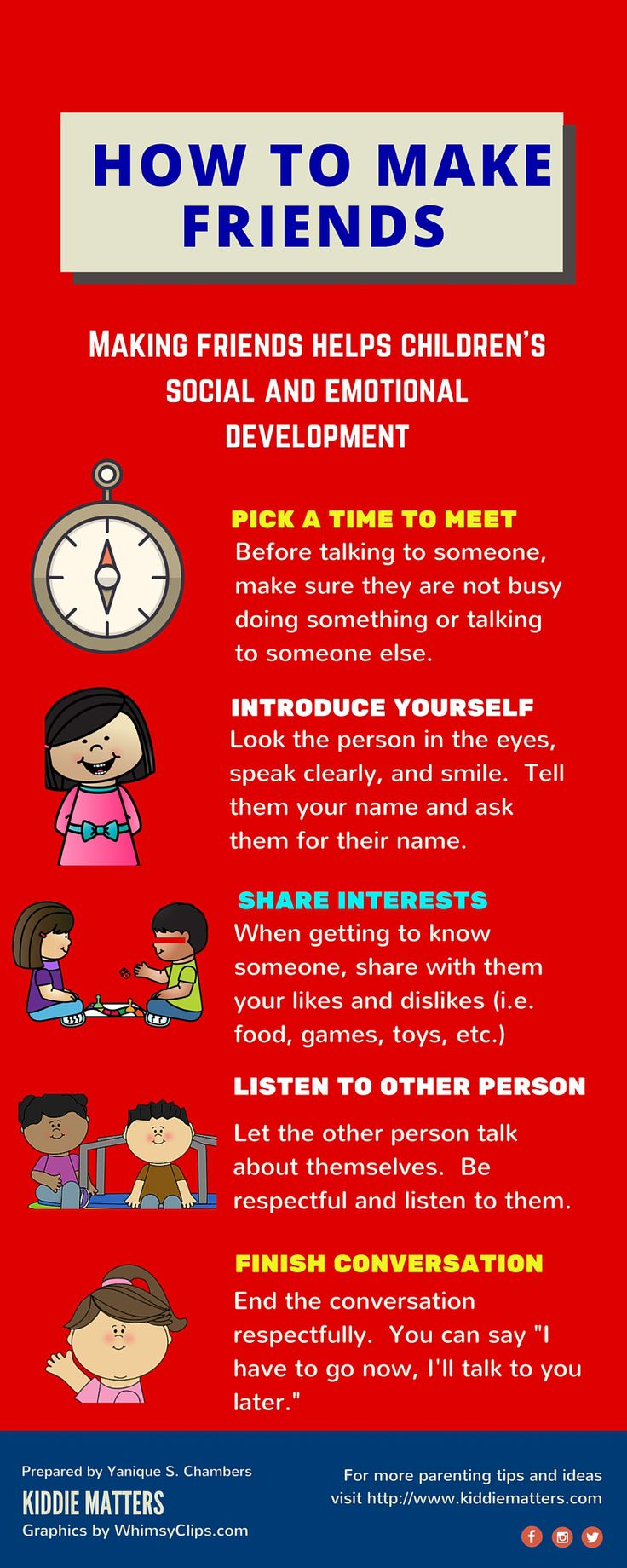 How To Make Friends Infographic Teach kids the important social skill of making friends. Parents, teachers, and counselors can role play this infographic with children to help them practice how to behave in social situations where they are meeting new people.
