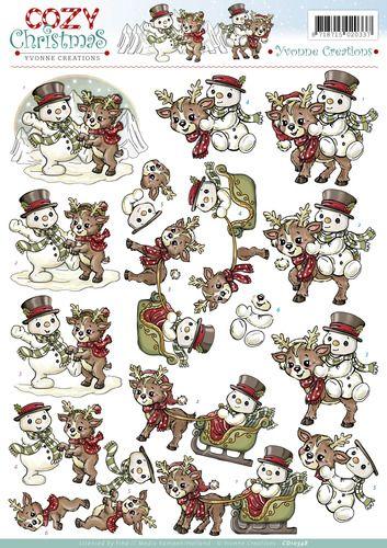 Knutselkraam.nl   3D A4 Knipvel Yvonne Creations - Cozy Christmas - Snowman with reindeer CD10548