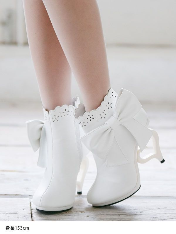 dreamv | Rakuten Global Market: Scalapflowe x beautiful babe Heather boots short boots scalloped Ribbon Ribbon Heather 11 cm Princess Lolita cute fashionable more flowery punching pink Lavender white white high-heeled women's shoes boots dream vision
