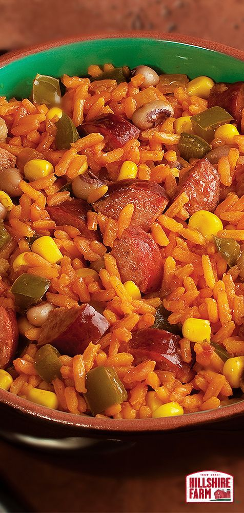 Easy-to-make Spanish rice with southern hospitality and Hillshire Farm® Smoked Sausage. Find the full recipe here.