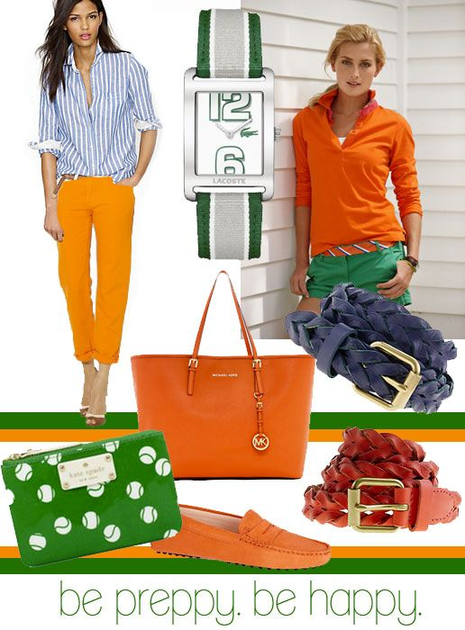 Be Preppy. Be happy in cheerful orange and green.  regimental tie belt and lacoste watch