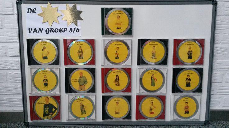 Verjaardagskalender van cd-houders. Spuit de houders in kleur en plak ze op een bord.. Foto's van je groep met datum verjaardag op cd's plakken en in houders stoppen. De jarige staat bovenaan; wissel bij elke verjaardag.