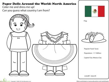 Worksheets: Mexican Paper Doll   -Repinned by Totetude.com