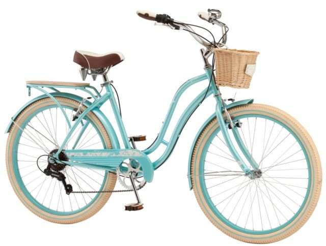 26 Schwinn Women S Beach Cruiser 7 Speed Bicycle Basket Memory Foam Seat Blue For Sale Online Ebay Cruiser Bike Schwinn Blue Bicycles