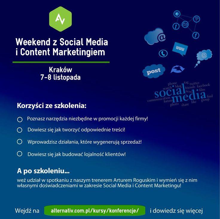 Weekend z #socialmedia i #contentmarketing 7-8 XI #kraków  szczegóły http://alternativ.com.pl/kursy/konferencje/ … pic.twitter.com/VV0Bdc13AR