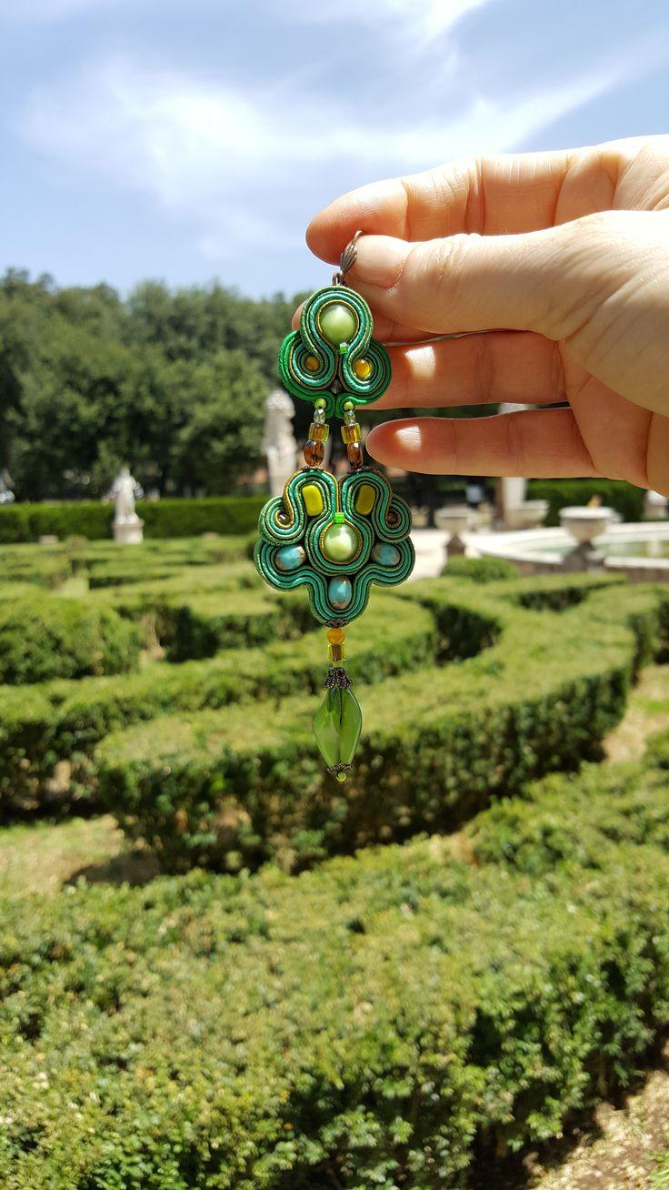 This summer, we are seeing green all over.... photo location: Villa Borghese, Rome  #doricsengeri #villaborghese #rome #roma #greenearrings #fashionaccessories #dropearrings