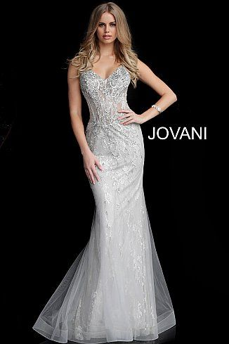 2fd4c2401ef0f Silver Embellished V Neck Mermaid Prom Dress 63673 in 2019 | Jovani ...