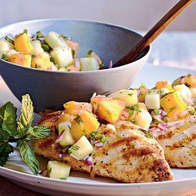 Grilled Chicken with Cucumber-Melon Salsa - Summer Entrées - Cooking Light