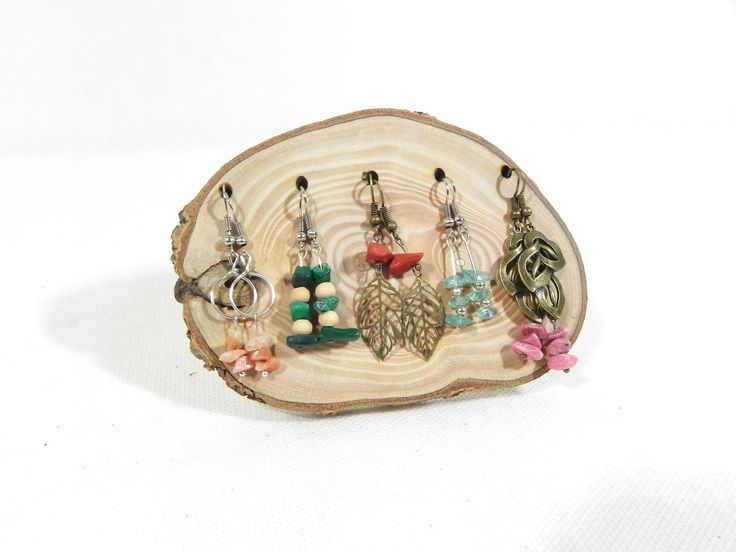 Présentoir à bijoux, présentoir à boucles d'oreilles fait main en bois massif naturel, pour 5 ...