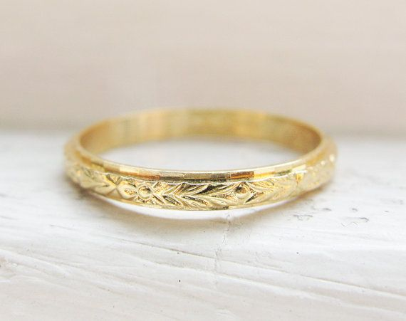 Vintage Wedding Ring 18K Yellow Gold by RosenrosettAntiques, $199.00