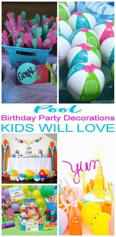 Pool Birthday Party Decorations Pool Birthday Pool Party Kids Pool Party Decorations