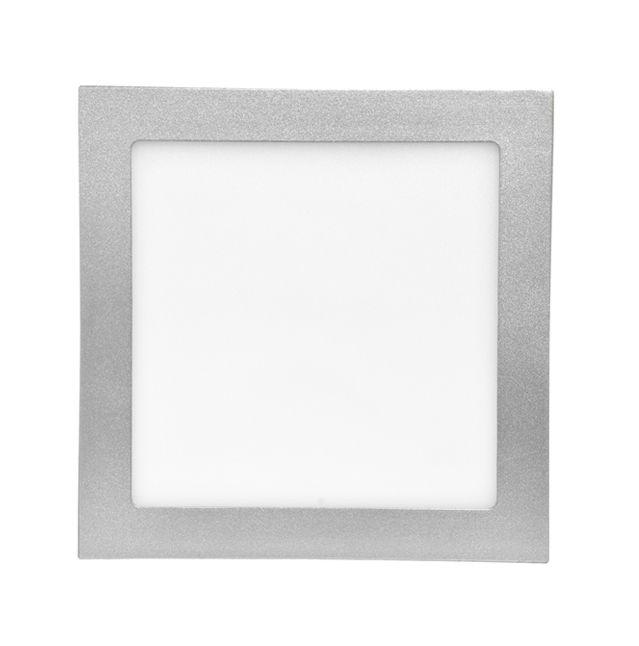 Stříbrný vestavný LED panel hranatý 170 x 170mm 12W