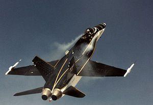 FA18 LEX.jpg El High Alpha Research Vehicle (en español: vehículo de investigación de gran ángulo de ataque), abreviado HARV, fue un F/A-18 Hornet modificado usado por la NASA en un programa de tres fases para investigar el vuelo controlado a grandes ángulos de ataque usando empuje vectorial, modificaciones de los mandos de vuelo, y las extensiones de los borde de ataque.
