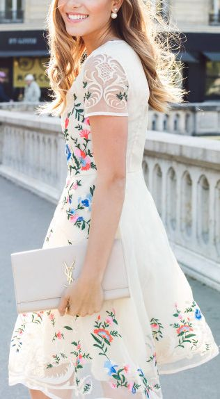 Floral embroidery organza dress