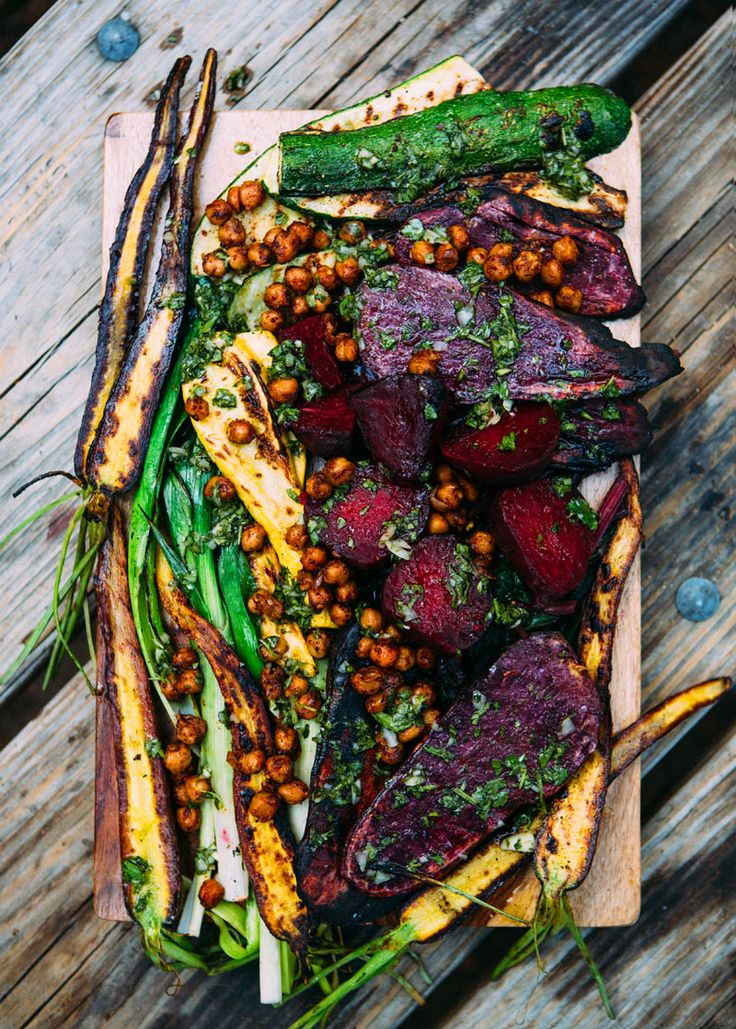 Grilled Veggies with Pan Fried Chickpeas and Chimichurri via A House in the Hills