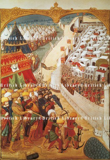 Mehmet II's troops laying seige to Constantinople in 1453, miniature, Turkey 15th Century