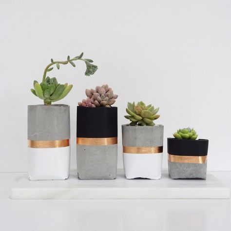 Love these concrete, white, black and copper succulent holders. Would look great with mixed metals as you're wedding decor in all different heights
