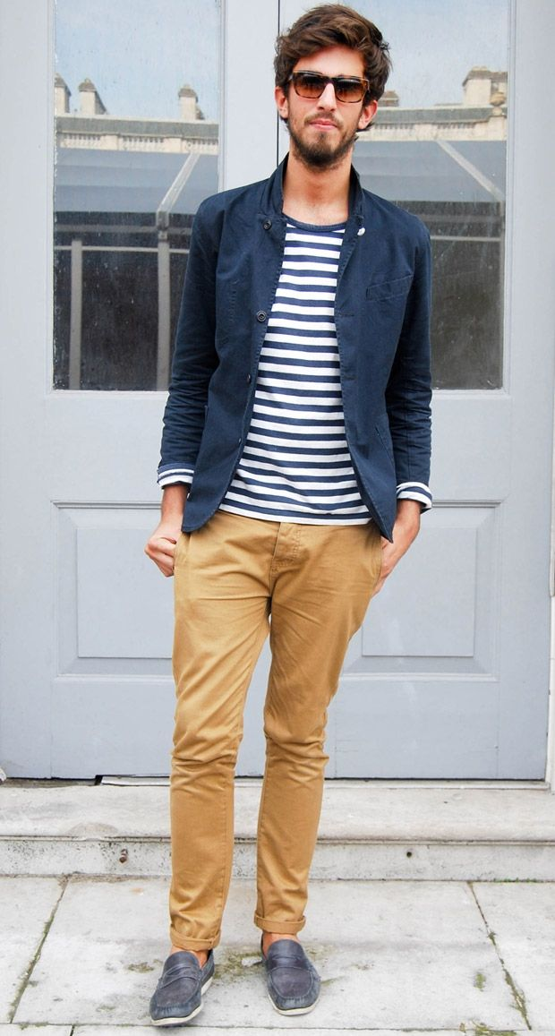 The classic nautical striped t-shirt never fails to add something to an otherwise toned down look, and never fails to look effortlessly cool when worn with a navy blazer or unbuttoned shirt over it.