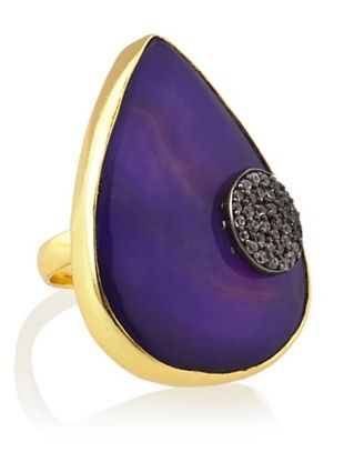 65% OFF Blossom Box 18K Gold-Plated Purple Agate Ring