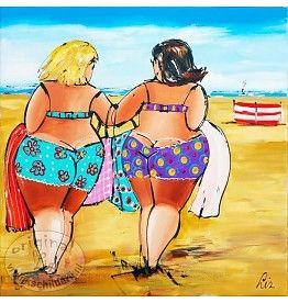 Vrolijk Schilderij Schilderij dagje strand