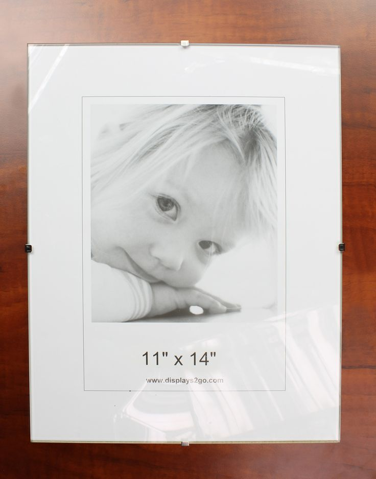 11 x 14 Frameless Picture Frame for Wall Mount, with Side Clips - Clear Glass