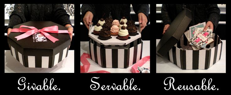 Cupcake Hatbox with lift-out serving tray. Re-usable box!