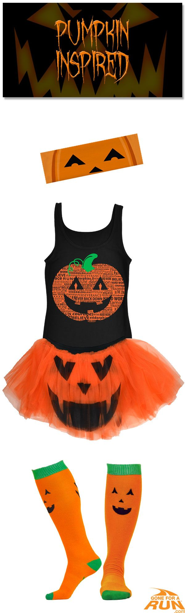 Trick or run? I'd choose run! With our double sided pumpkin tutu you never know which mood you'll get! Get in a spooky fun mood with our #Halloween inspired running apparel! From shirts to socks and more, you'll find something to suit you and your running friends haunted moods! Make up your own costume, or check out one of our original ideas! Make your run as jolly as Jack O' Lantern with our Women's pumpkin inspired Halloween runner's costume!