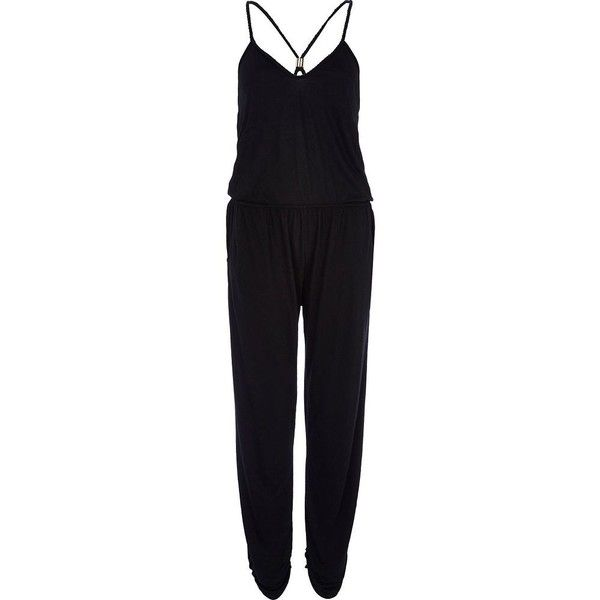 River Island Black strappy jumpsuit ($13) ❤ liked on Polyvore featuring jumpsuits, jumpsuit, river island, sale, v neck jumpsuit, strappy jumpsuit and jump suit