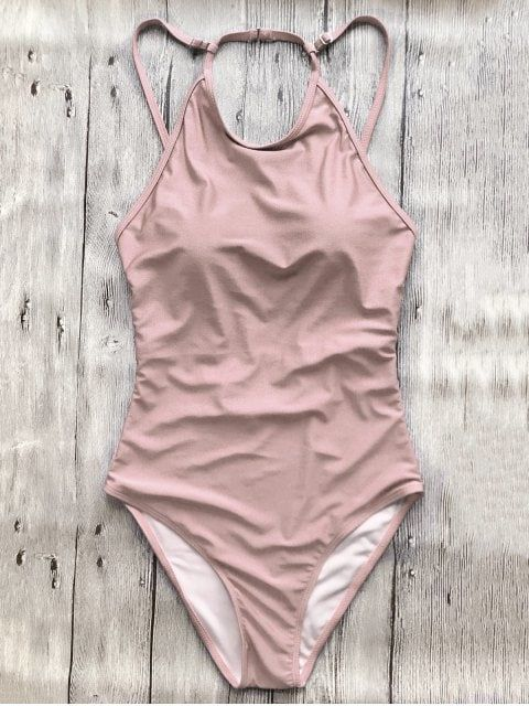 Open Back High Neck One Piece Swimsuit - PINK M