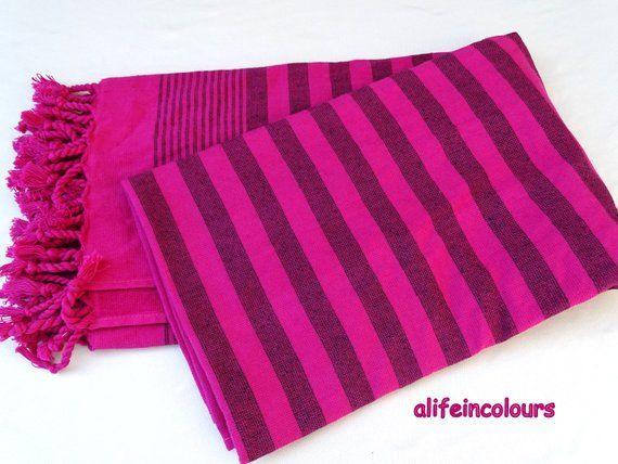 Pink Colour Black Striped Turkish Soft Cotton Terry Bath Towel