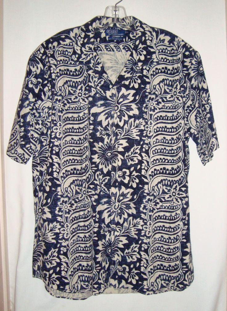 POLO by RALPH LAUREN Hawaiian Linen Cotton Bonnard Aloha Men's Shirt  Size Lg