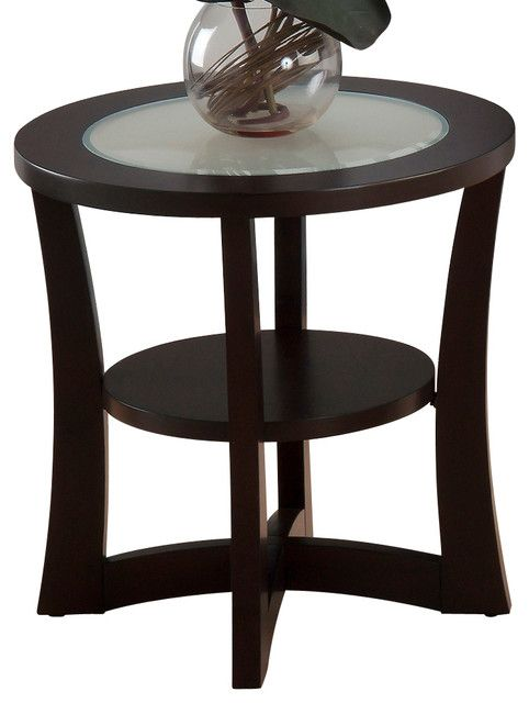 jofran end table with shelf and frosted glass insert in espresso