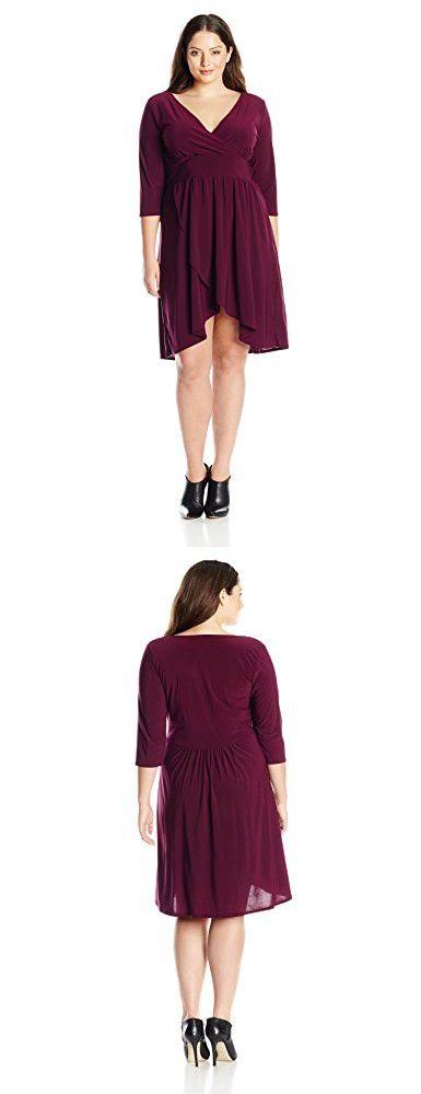 Star Vixen Women's Plus-Size Elbow Sleeve Surplice with Tulip Skirt, Plum Solid, 1X