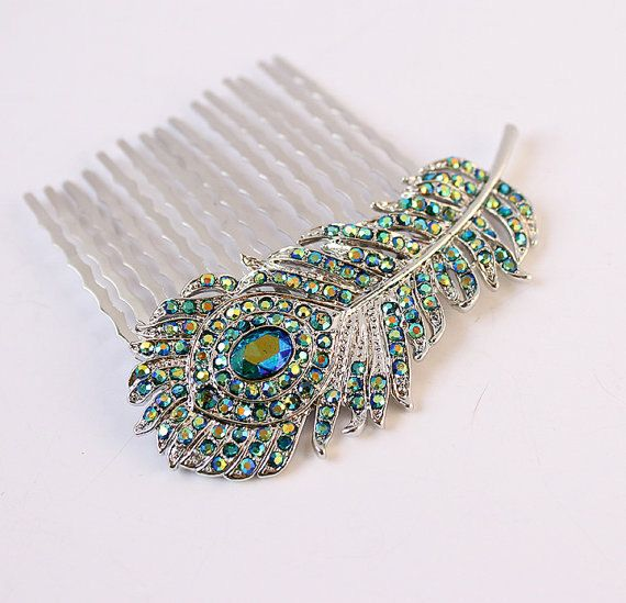 Teal Blue Peacock Feather Hair Comb Wedding by BestForBrides
